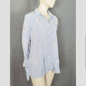 ZARA Striped Rose Embroidered Ruffle Blouse Top